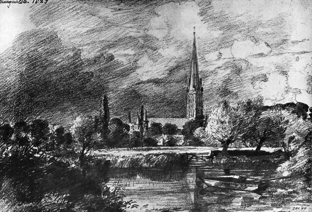 Disegno preparatorio, La cattedrale di Salisbury, John Constable, matita su carta, 1823.