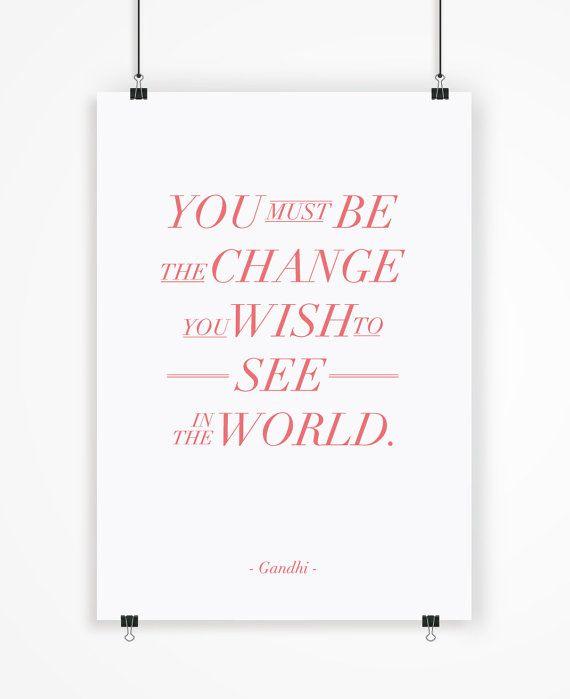 Mahatma Gandhi poster motivador tipografía por LetteringShop