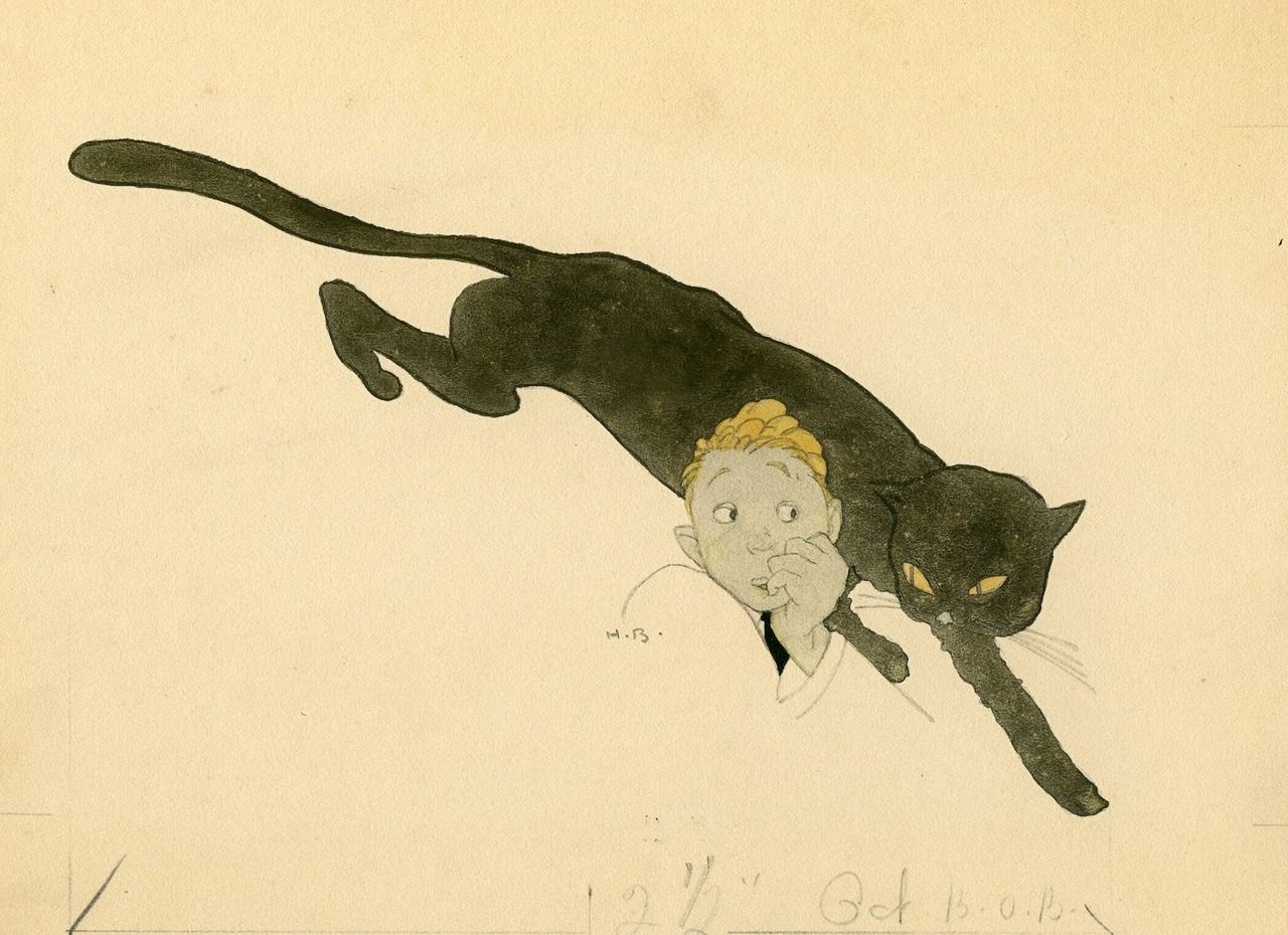 The remarkable Harry Beckhoff drew this tiny picture of a man scared by a black cat in 1913.