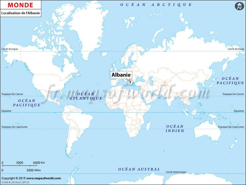 O est lAlbanie Location map of Albania on World map Pays