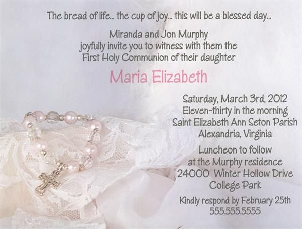 """Baptism Cross """"First Holy Communion"""" Invitations from www.TCWDESIGNS.com"""