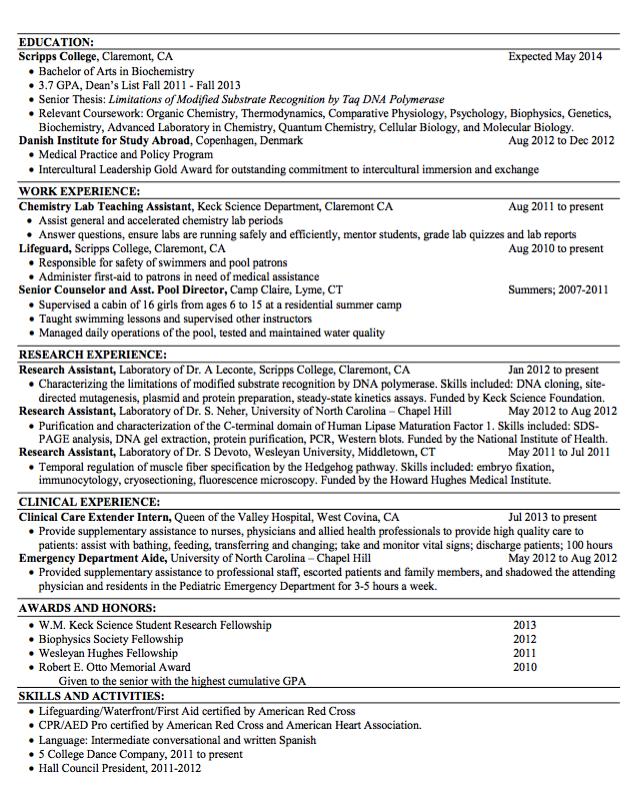 Sample Lifeguard Resume Examples Resume Cv Resume Molecular Biology Biochemistry