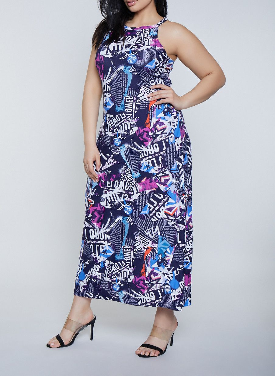 Plus Size Magazine Print Maxi Dress | Products in 2019 ...