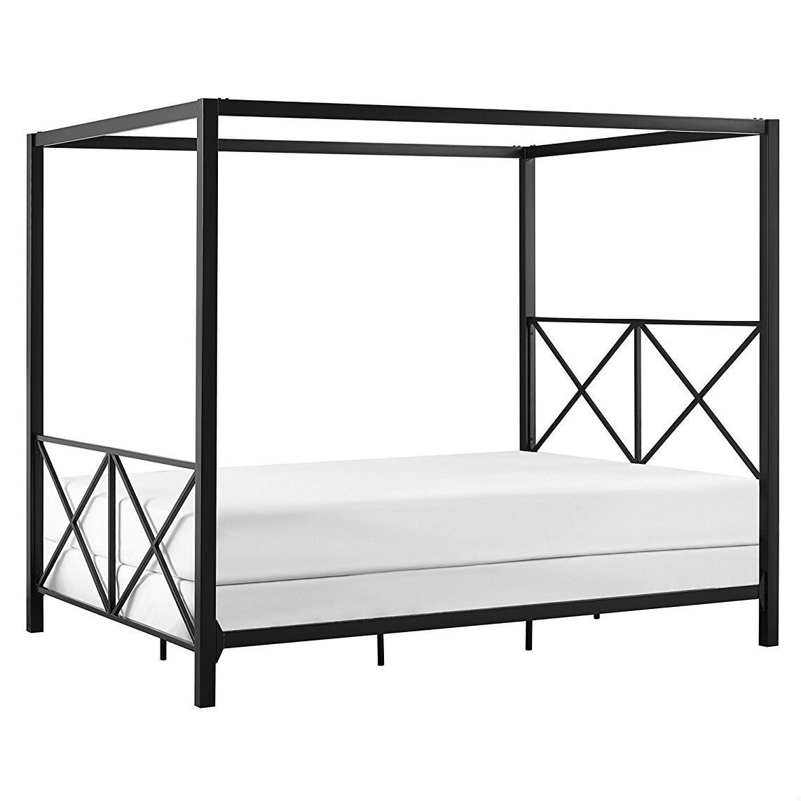 Best Queen Size Modern Black Metal Four Poster Canopy Bed Frame 400 x 300