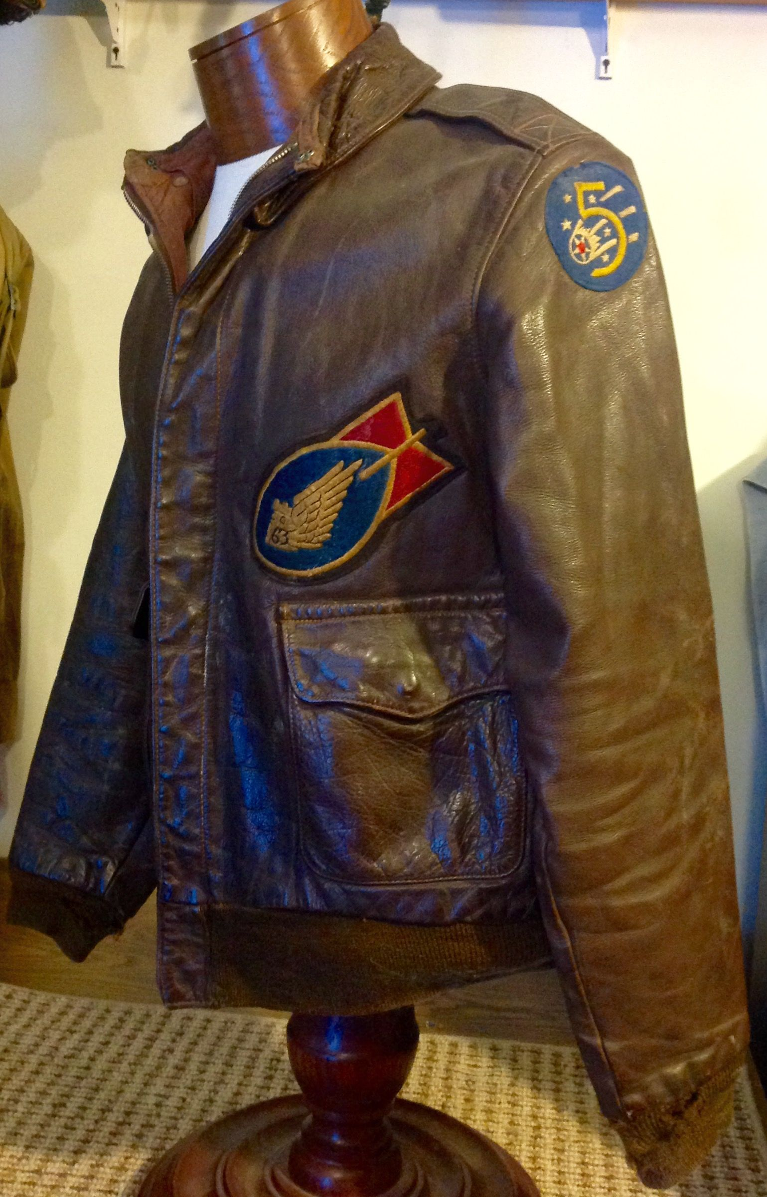 94381f0774b A2 flight jacket with 63rd bomb squadron and 5th army air force patches (C.  Huff
