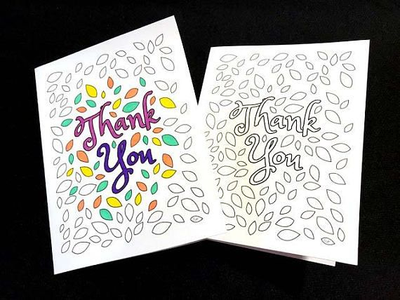 Thank You Card with Leaves PDF Zentangle Coloring Page