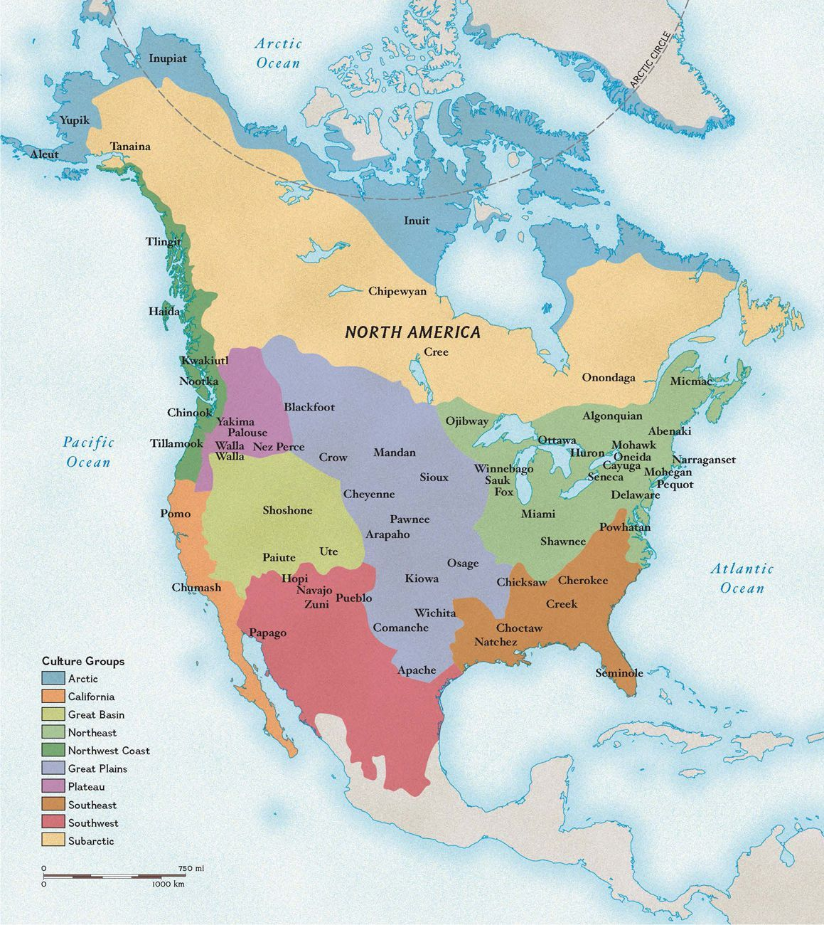 This map show the major Native American cultural regions in the