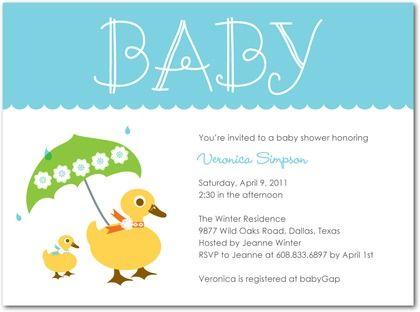 duck themed baby shower invitations - Google Search Ducks_baby - how to word baby shower invitations