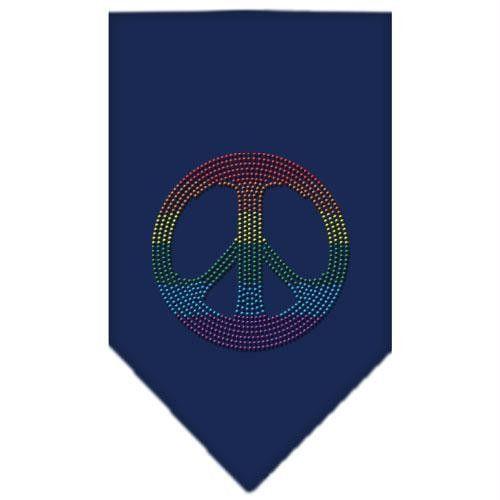 Rainbow Peace Sign Rhinestone Bandana Navy Blue large