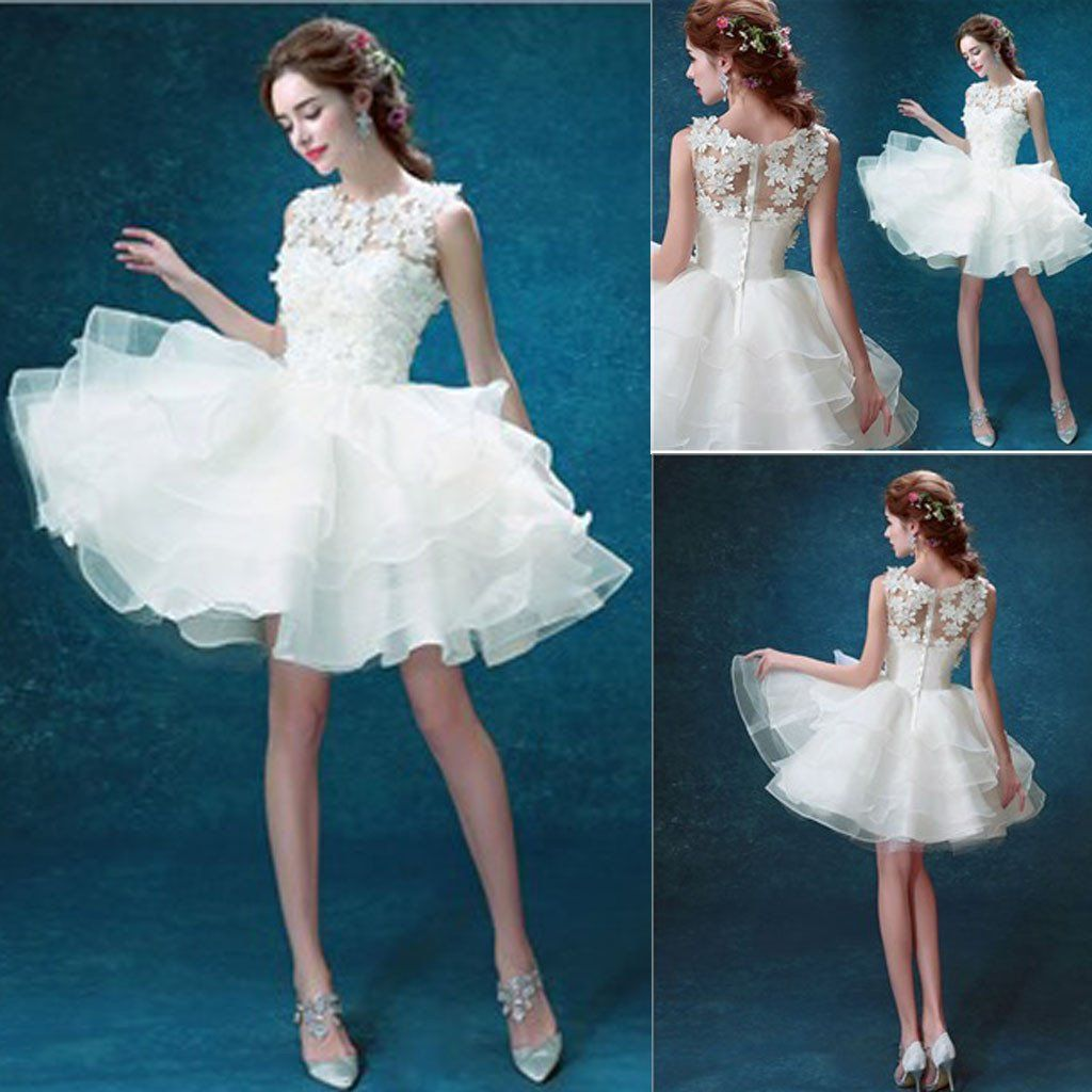 Scoop Neck Sleeveless Cute Appliques Custom Make Organza Wedding ...