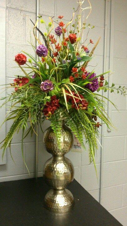 Large unique silk floral arrangements custom by kel for Fall fake flower arrangement ideas