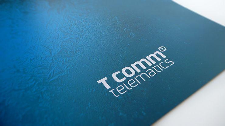 Brochure ontwerp voor T Comm Telematics - Als herboren