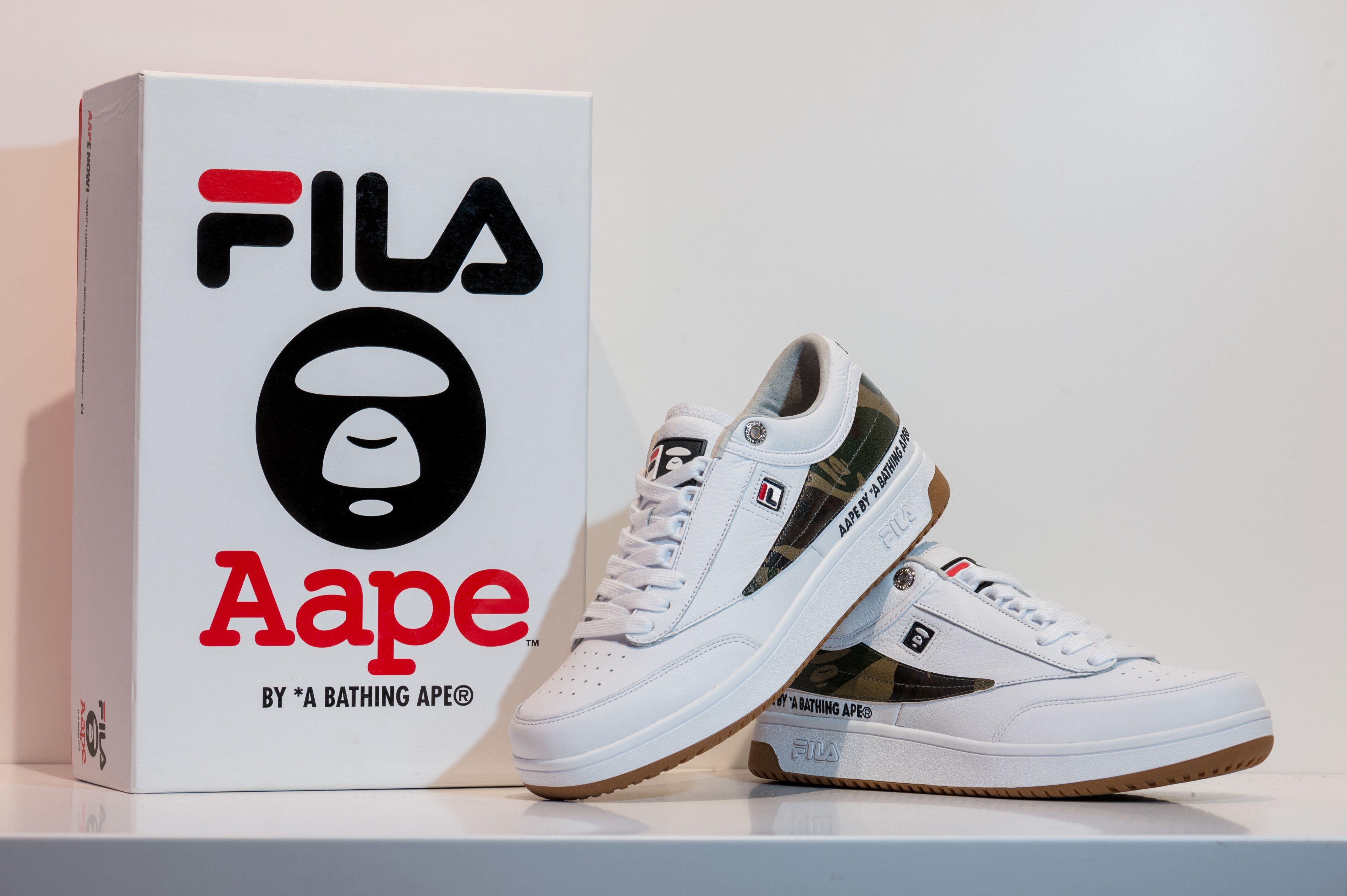 4f3f5106 AAPE by A Bathing Ape x FILA T-1 Mid Sneakers | Original Nike Shoes ...