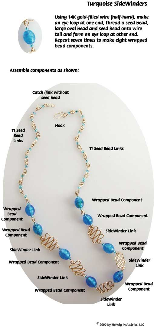 Turquoise Sidewinders Wire and Beads Necklace Jewelry Making Project ...