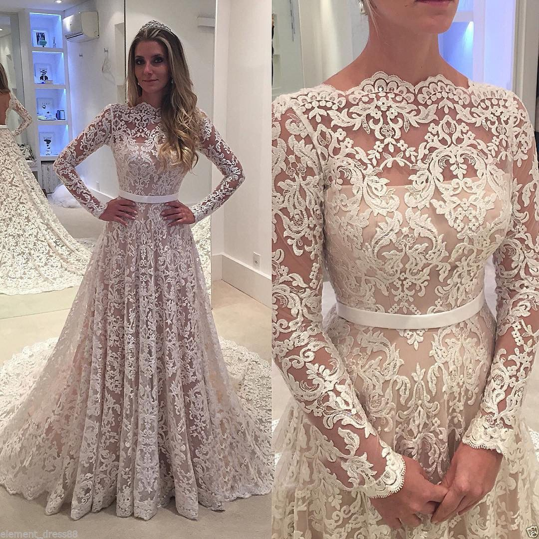 Chapel train vintage lace wedding dresses long sleeves wedding gown