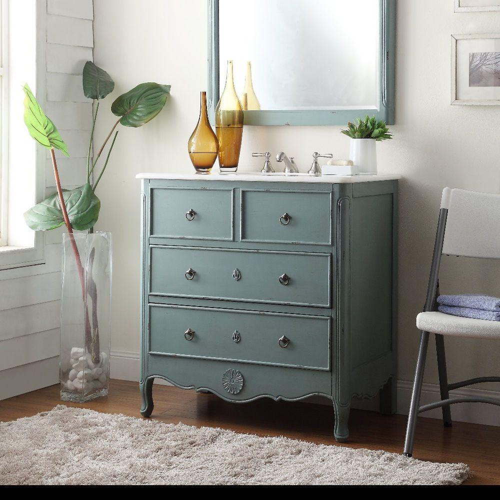 34  Cottage look Daleville Bathroom Sink vanity HF081Y  vintage mint blue. 34  Cottage look Daleville Bathroom Sink vanity HF081Y  vintage