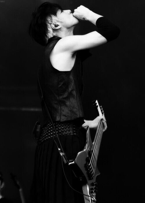 Toshiya, Bassist of Dir en Grey. He inspired me to pick up a Bass. Plus he was my first man crush. Inspiration AND Admiration.