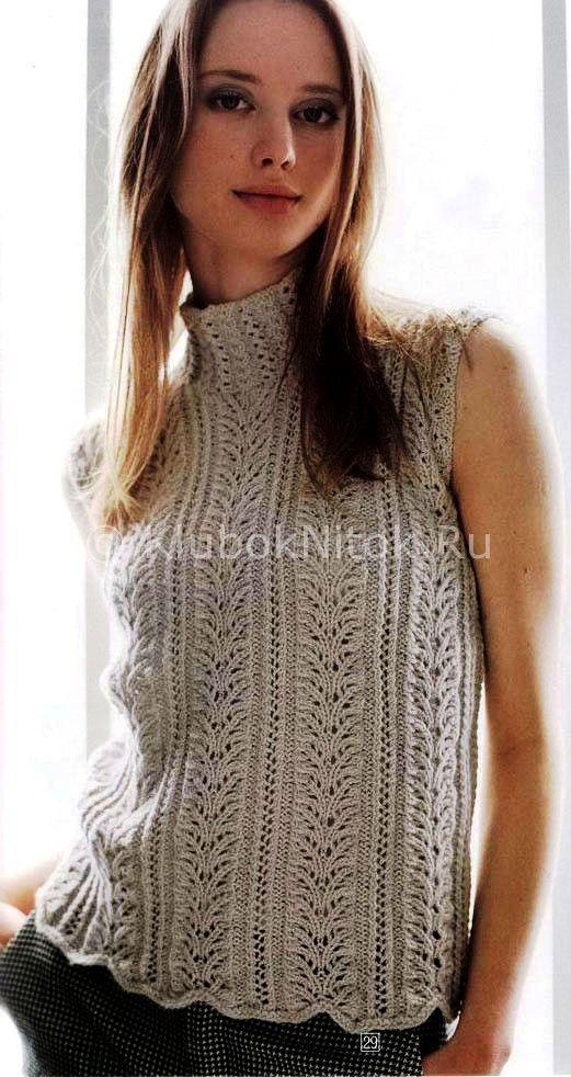 топ узором листики вязание для женщин вязание спицами и