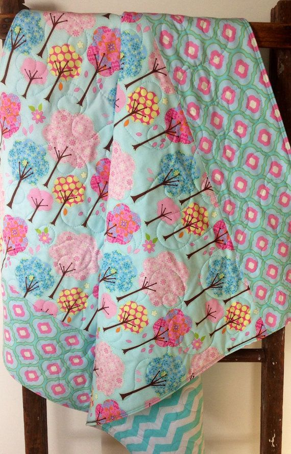 Baby Girl Quilt Pretty Little Things Trees Deena