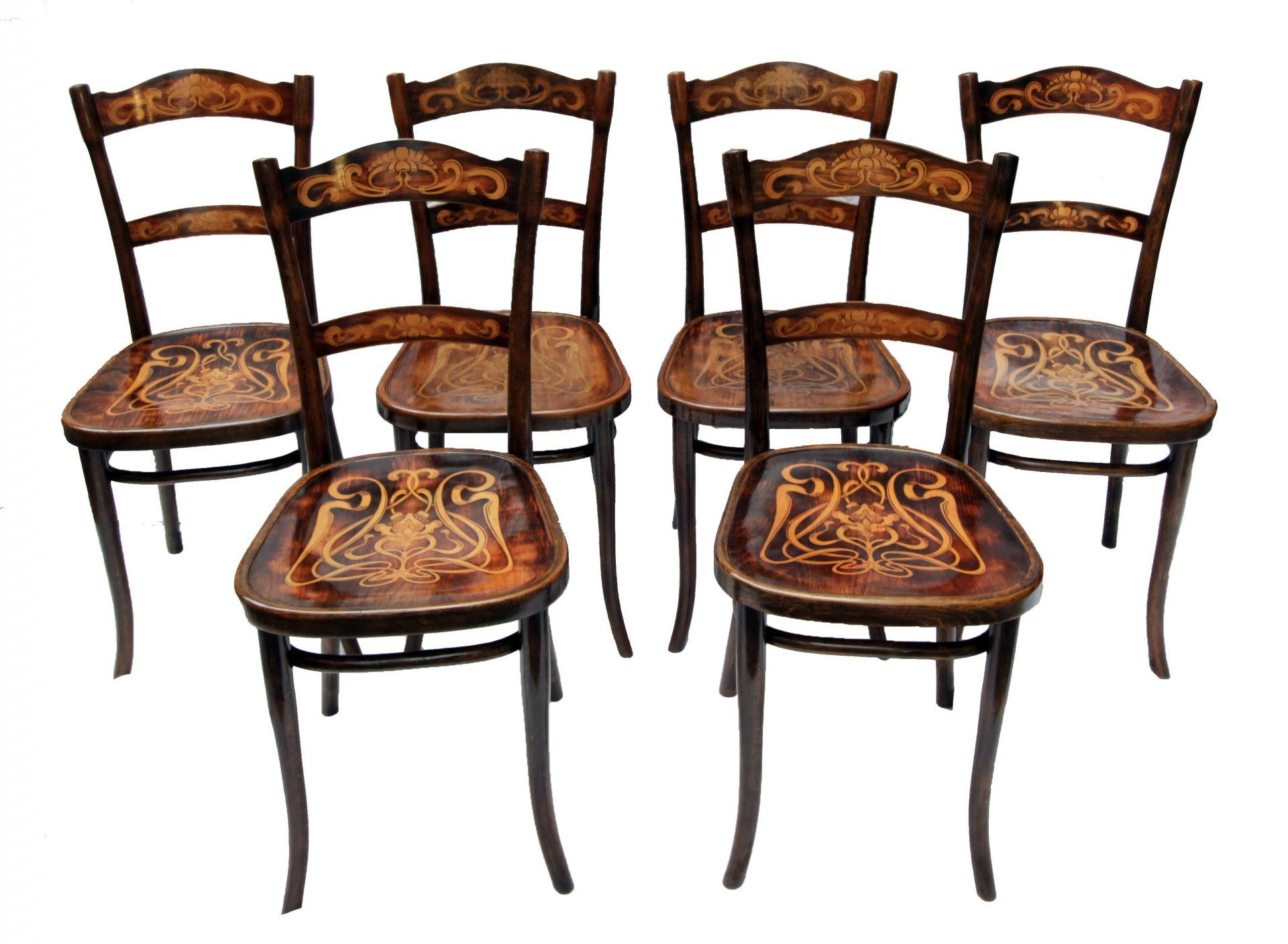 thonet stuhl gruppe 6er satz buche jugendstil. Black Bedroom Furniture Sets. Home Design Ideas