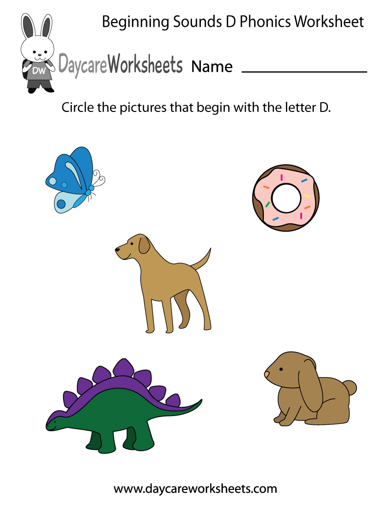 This letter d phonics worksheet helps preschoolers identify the this letter d phonics worksheet helps preschoolers identify the beginning letter of common objects by sounding robcynllc Images