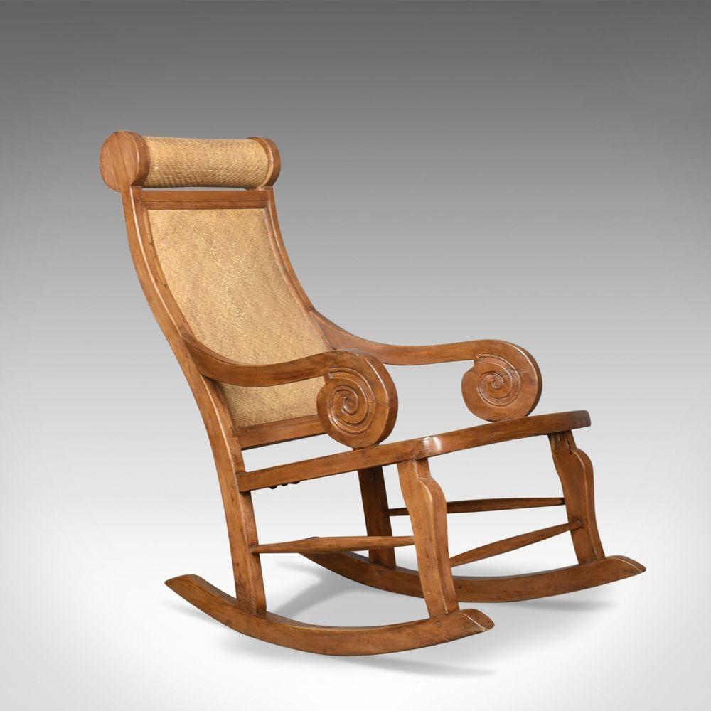 Vintage Rattan Rocking Chair Hardwood Recliner MidCentury
