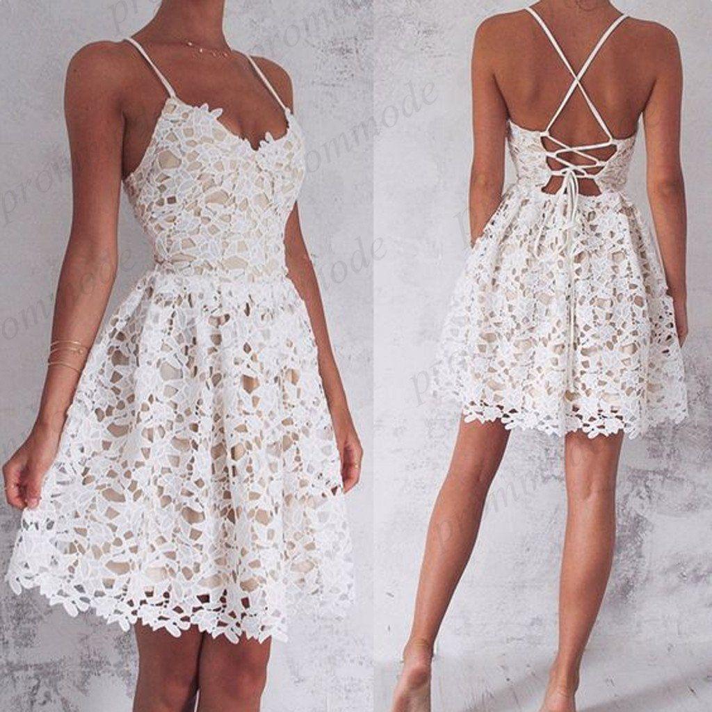 Cheap aline spaghetti straps white lace homecoming dressesshort