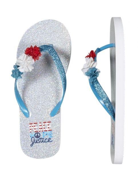 Americana Flower Flip Flops