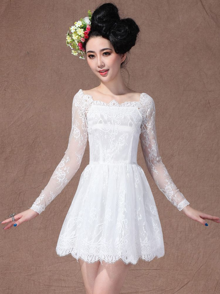 White Boat Neck Long Sleeve Overlay Lace Flare Dress