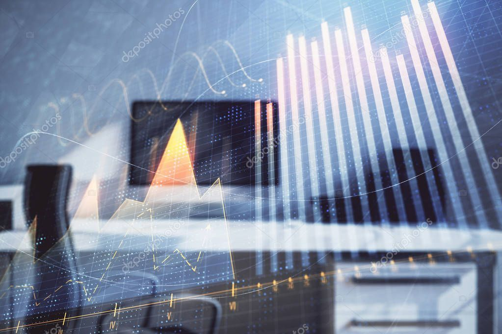 Stock Market Chart And Desktop Office Computer Background Multi Exposure Conce Sponsored Desktop Of Stock Market Chart Stock Market Financial Analysis