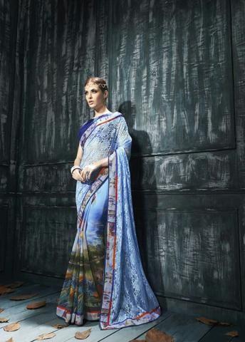 Blue & Multicolor Georgette Saree ,Indian Dresses - 1