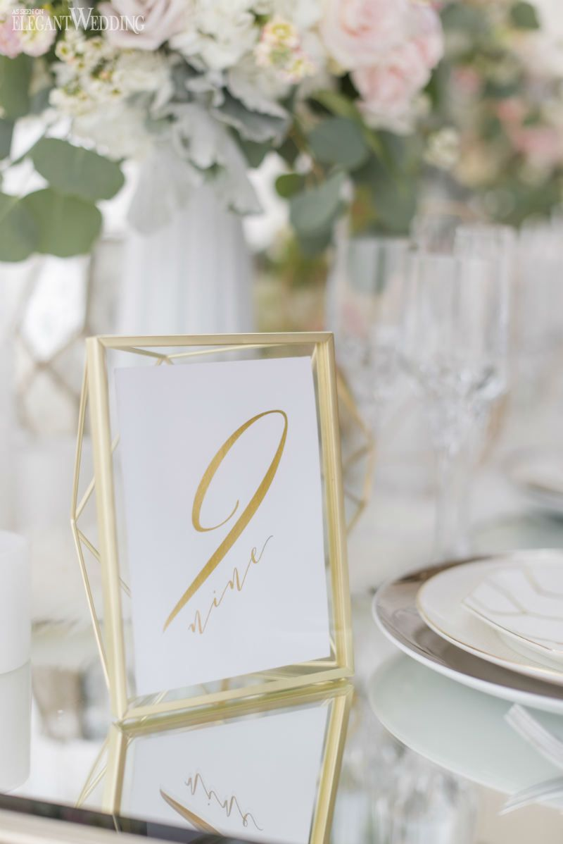 Gold geometric table number decor for a wedding! NORDIC LOVE: MARBLE ...