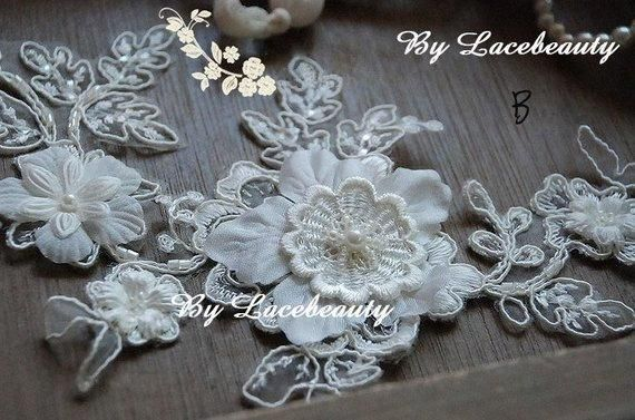 Ivory lace appliques gorgeous d large flower beaded patches for