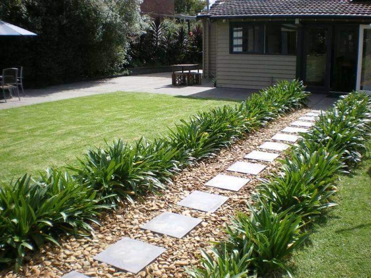 Kiesweg Im Garten Mit Gerader Form Und Trittsteinen Gartenweg Landschaftsbau Gartenwege Anlegen