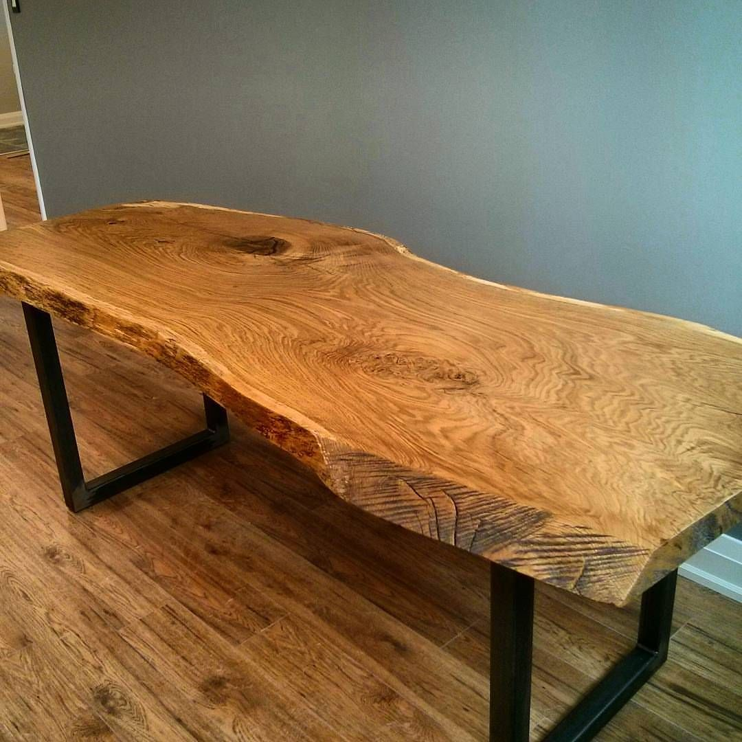 Live edge white oak desk by this large for Live edge wood slabs new york