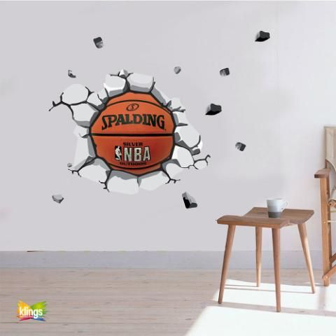 vinilos decorativos ball basket pelota de basquet que rompe pared wall sticker decor