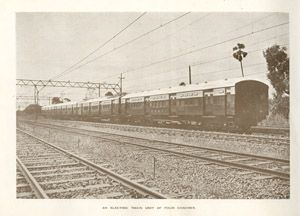 Indian railway- an electric train unit of four coaches from 'The opening of the Electrified Train Service on the Bombay Suburban Section' souvenir booklet 1928. IET Archives NAEST 105