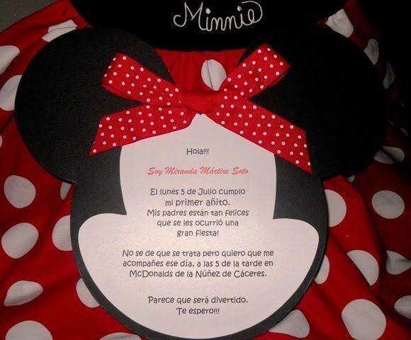Modelos de tarjetas de invitación de Minnie Imagui Invitaciones Pinterest