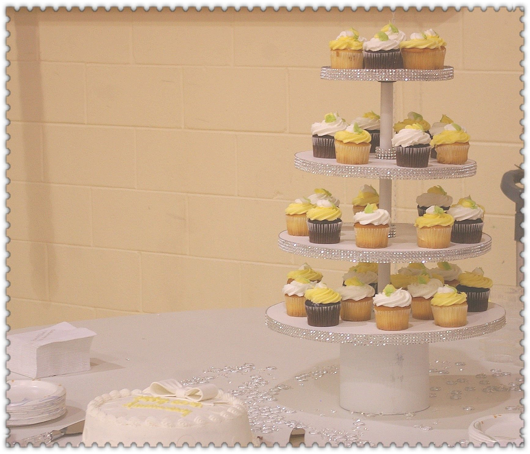 The cupcake stand I built for the occasion.