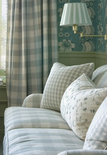 A Room Done Right Lovely Checked Sofa With Embroidered Cushion