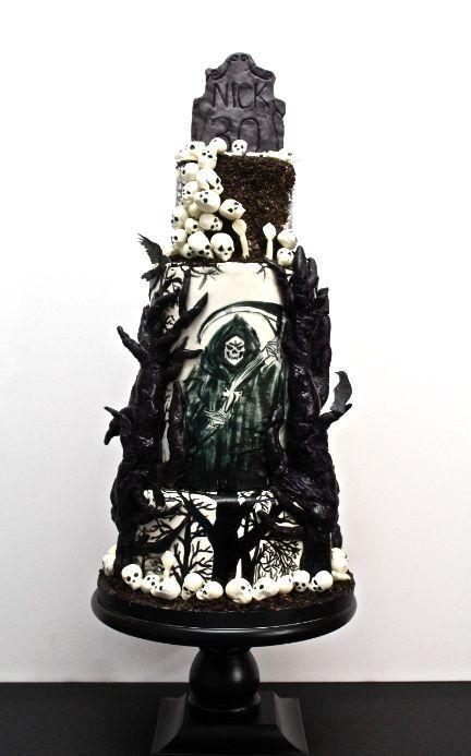 Halloween Cake Birthday Cake Tombstone Skulls Grave Black