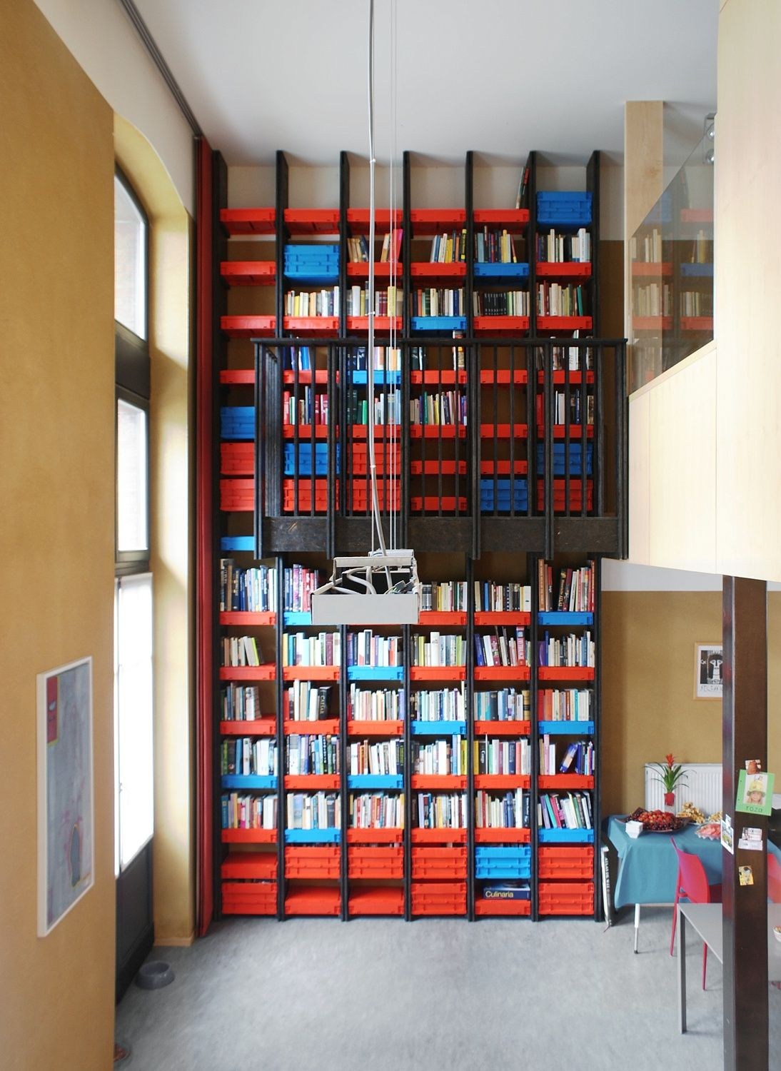 Incredible Giant Bookshelf Design From Floor To Ceiling With Red And Blue Racks Completed Simple
