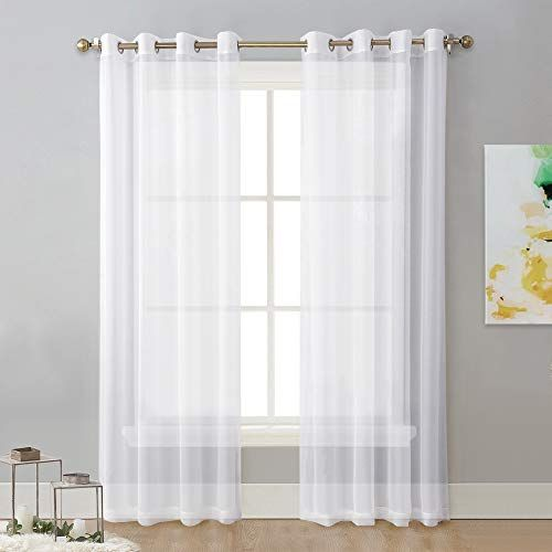 Nicetown Sheer Window Curtain Panels Solid White Panels Drapes