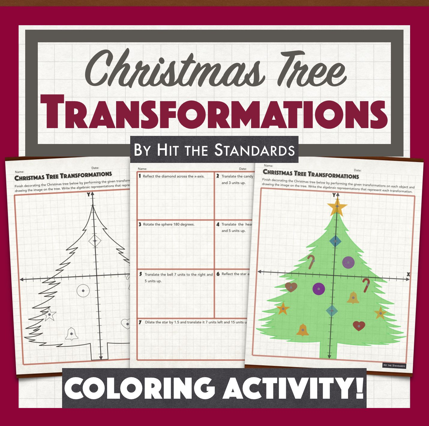 Christmas Tree Transformations Coloring Winter Math