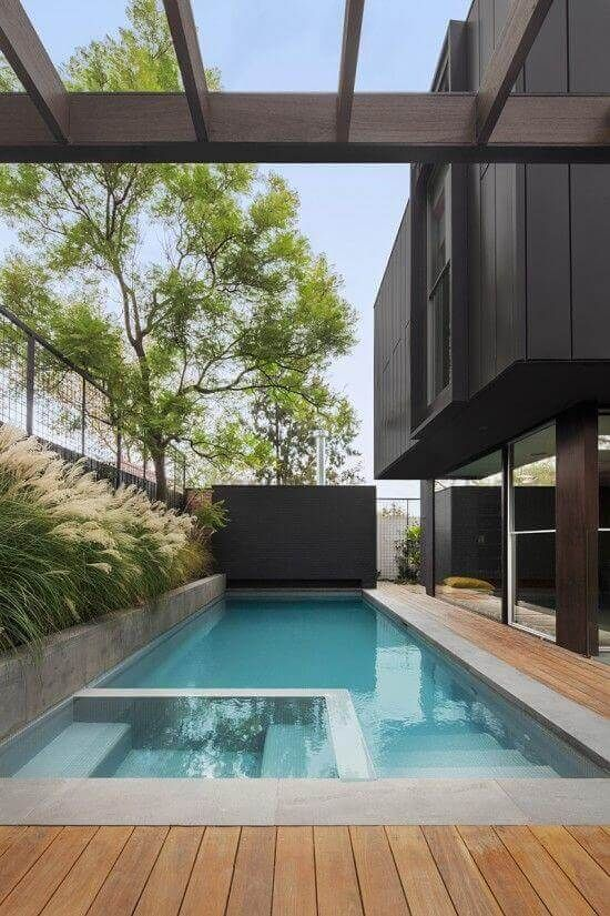 33 Swimming Pool With Jacuzzi Design Examples Pool Landscape Design Pool Houses