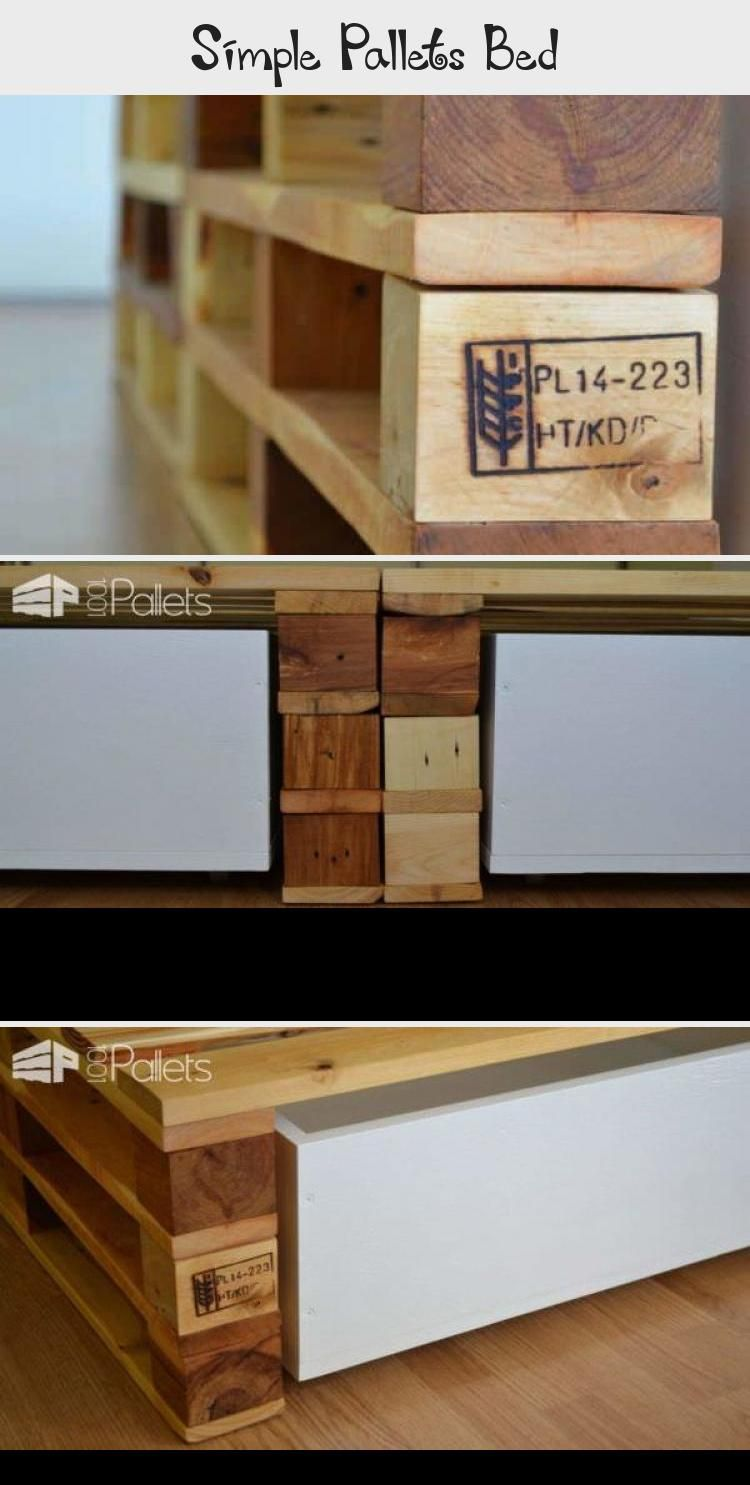 Simple Pallets Bed - Pallet #palletheadboards