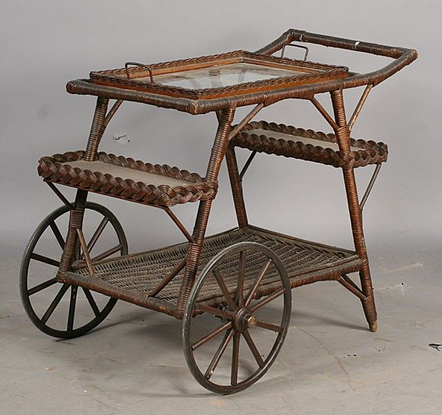 old serving carts | 171: GOOD ANTIQUE WICKER SERVING CART GLASS ...