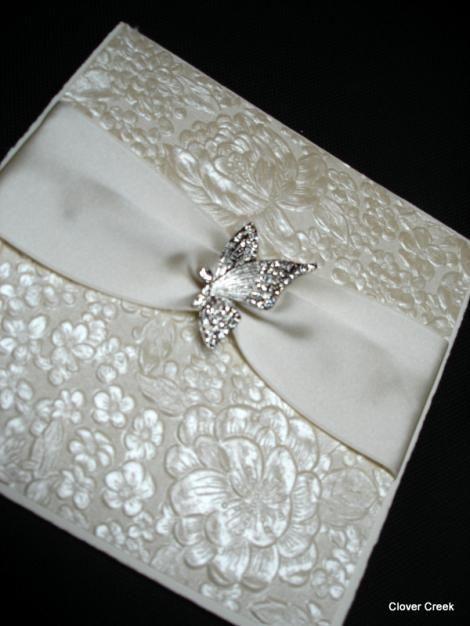 Wedding Invitation Elegant Embossed Metallic Shimmer Crystal Embellishment