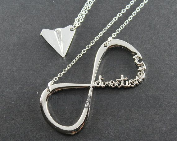 Harry S Paper Airplane Necklace Directioners Infinity Necklace Paper Airplane Necklace Harry Styles Paper Airplane Necklace Airplane Necklace