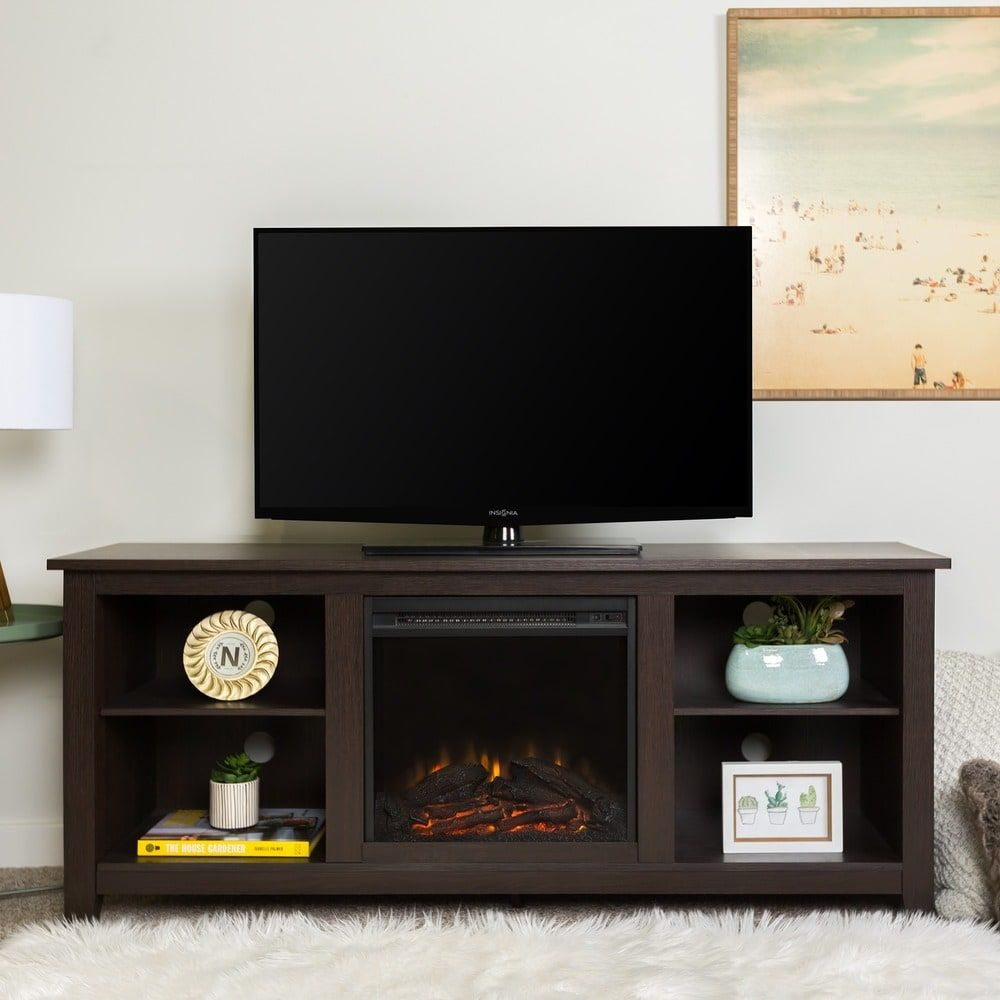Media console with electric fireplace in espresso free shipping